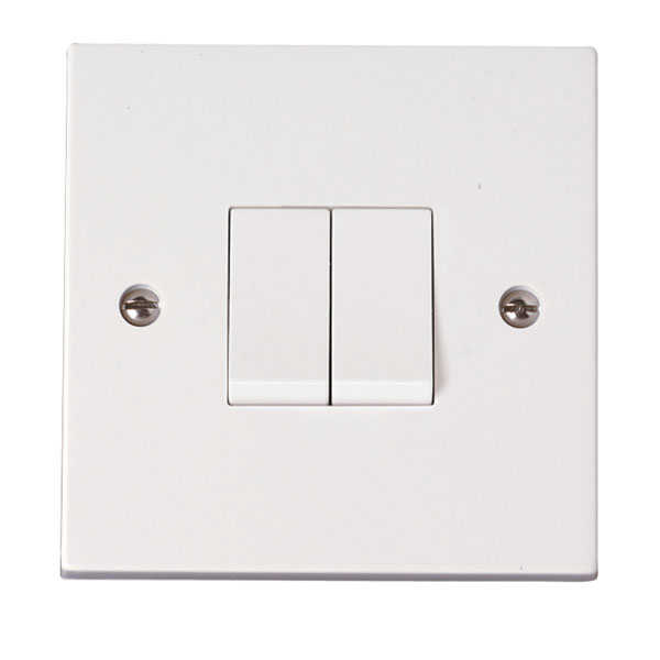10ax 2 Gang - 2 Way Plate Switch  Prw012